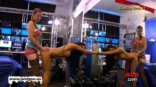 Casting girl Anna gets tested by Viktoria's large strap-on!