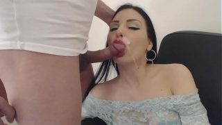 Very beautiful brunette gets mouth fucked and facial cumshot